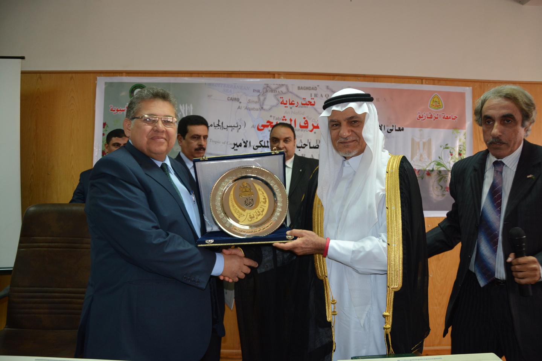Prince Turki Al-Faisal bin Abd El-Aziz Al Saud lectures at a seminar at the University of Zagazig