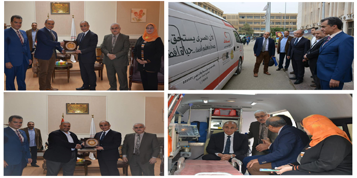 مؤسسة وفاء لمصر تدعم مستشفيات جامعة الزقازيق بسيارة إسعاف كاملة التجهيز ومزودة بوحدة عناية مركزة متطورة