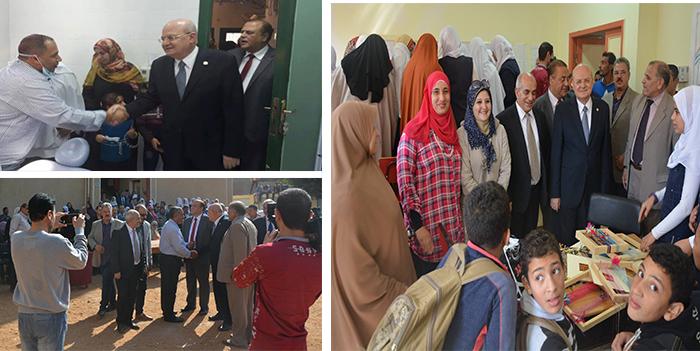 رئيس جامعة الزقازيق علي رأس قافلة شاملة بقرية شرشيمة مركز ههيا
