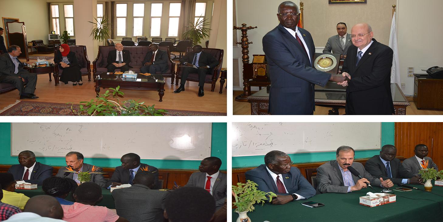 رئيس جامعة الزقازيق استقبل سفير جنوب السودان اليوم