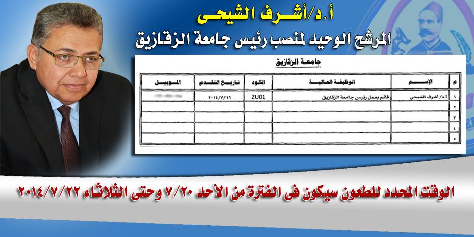 أ.د/أشــــرف الشيحـــى  المرشح الوحيد لمنصب رئيس جامعة الزقازيق