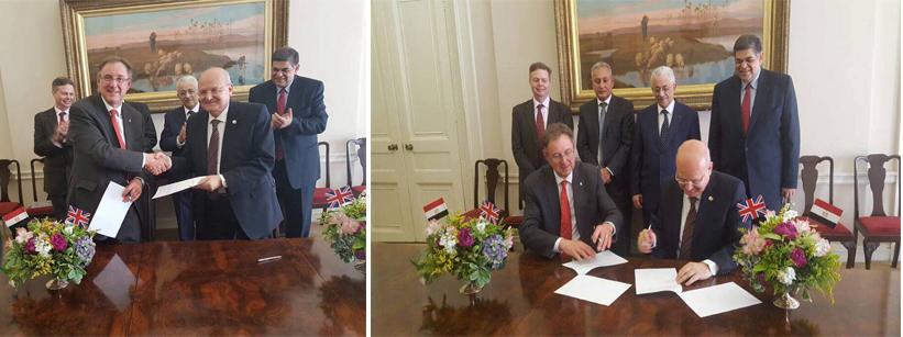 رئيس جامعة الزقازيق يوقع اتفاقية تعاون علمي مُشترك مع جامعة -داندي- بمقر السفارة المصرية بلندن